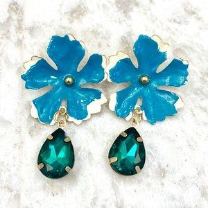 Blue green flower earrings
